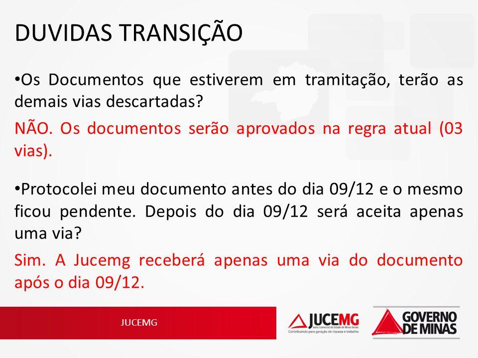 JUCEMG DUVIDAS TRANSIÇÃO Os Documentos que estiverem em tramitação, terão as demais vias descartadas? NÃO. Os documentos serão aprovados na regra atua