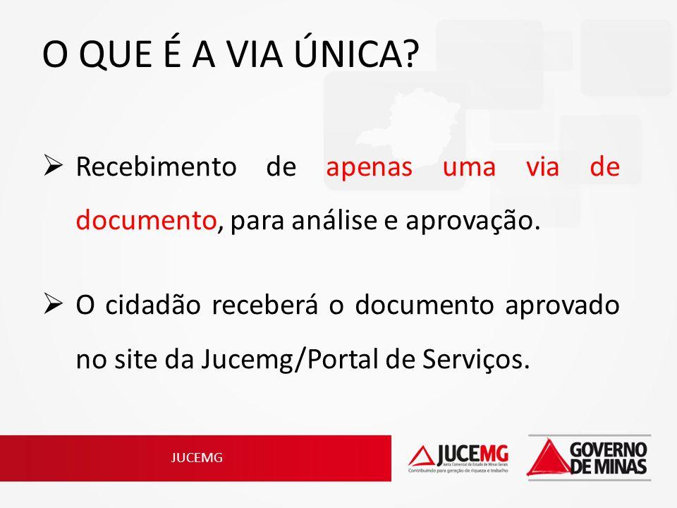 O QUE É A VIA ÚNICA? Recebimento de apenas uma via de documento, para análise e aprovação. O cidadão receberá o documento aprovado no site da Jucemg/P