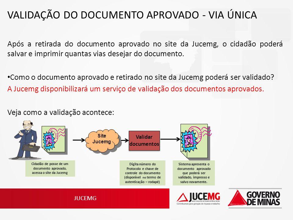 JUCEMG VALIDAÇÃO DO DOCUMENTO APROVADO - VIA ÚNICA Após a retirada do documento aprovado no site da Jucemg, o cidadão poderá salvar e imprimir quantas