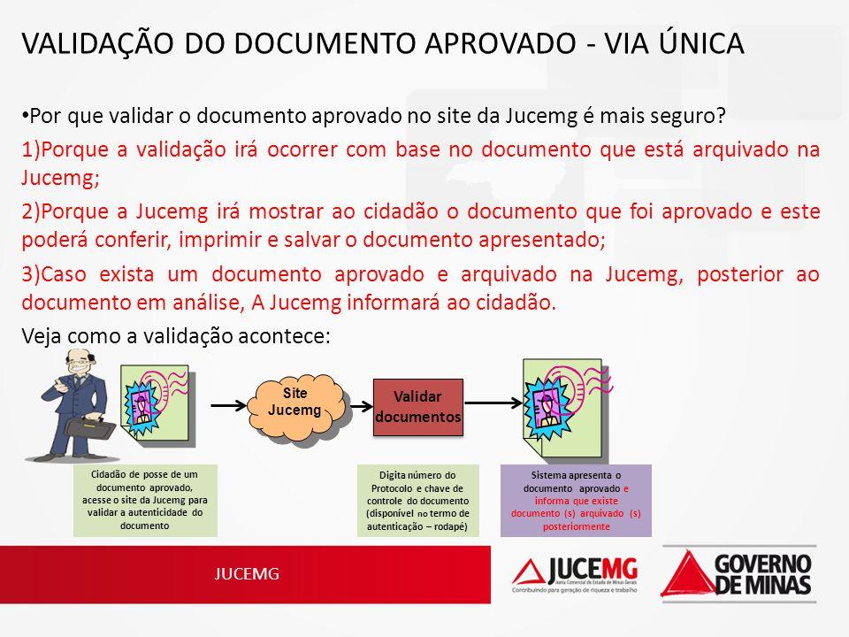 JUCEMG VALIDAÇÃO DO DOCUMENTO APROVADO - VIA ÚNICA Por que validar o documento aprovado no site da Jucemg é mais seguro? 1)Porque a validação irá ocor