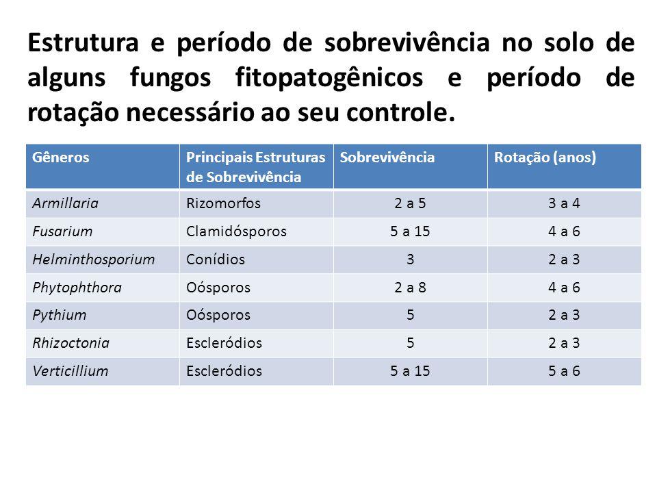 Estrutura e período de sobrevivência no solo de alguns fungos fitopatogênicos e período de rotação necessário ao seu controle. GênerosPrincipais Estru