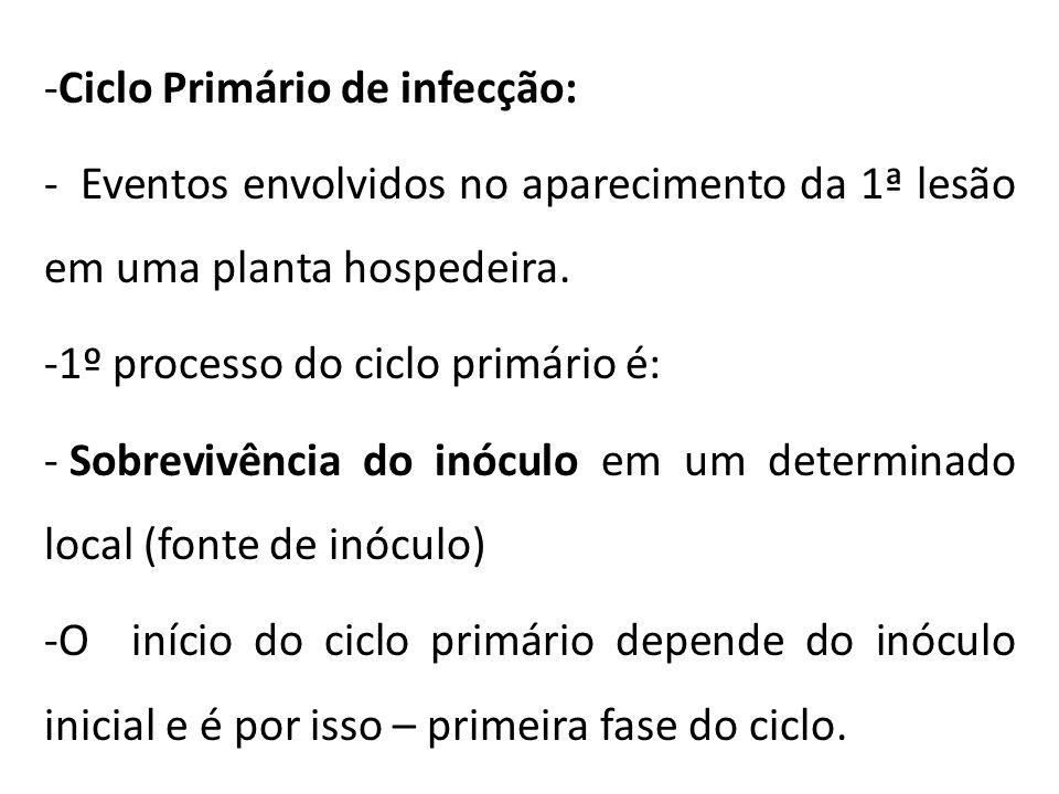 -Ciclo Primário de infecção: - Eventos envolvidos no aparecimento da 1ª lesão em uma planta hospedeira. -1º processo do ciclo primário é: - Sobrevivên