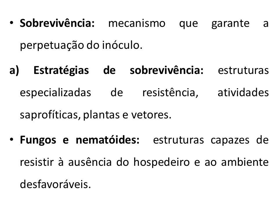 Sobrevivência: mecanismo que garante a perpetuação do inóculo. a) Estratégias de sobrevivência: estruturas especializadas de resistência, atividades s