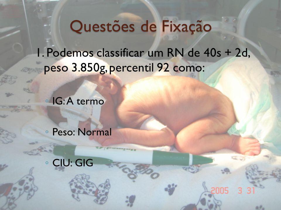 Questões de Fixação 1. Podemos classificar um RN de 40s + 2d, peso 3.850g, percentil 92 como: IG: A termo Peso: Normal CIU: GIG
