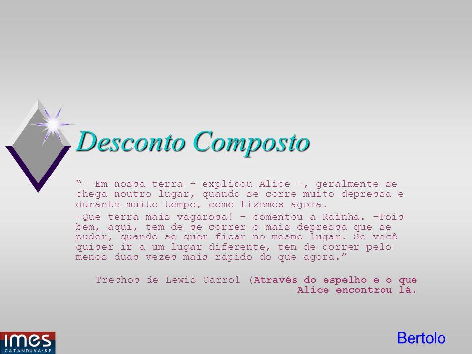 Bertolo Desconto Composto - Em nossa terra – explicou Alice -, geralmente se chega noutro lugar, quando se corre muito depressa e durante muito tempo,