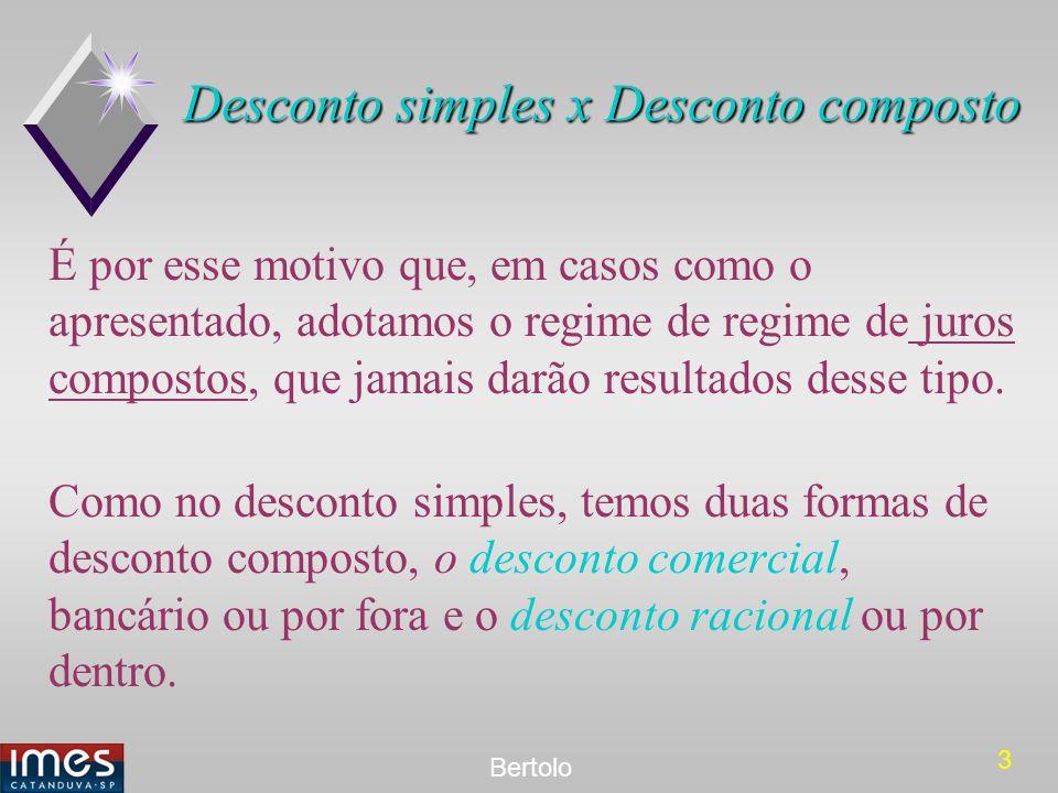 3 Bertolo Desconto simples x Desconto composto É por esse motivo que, em casos como o apresentado, adotamos o regime de regime de juros compostos, que