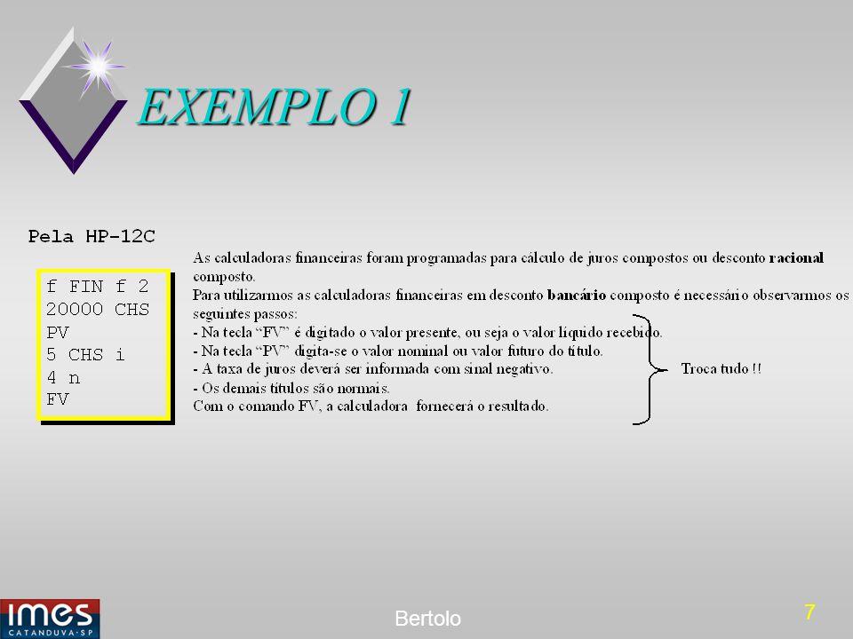 8 Bertolo EXEMPLO 2 Qual é o valor nominal de um título que foi resgatado 1 ano antes de seu vencimento por R$ 16.290,13, à taxa de desconto bancário composto de 5% ao trimestre, capitalizados trimestralmente.