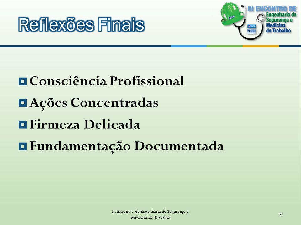 Consciência Profissional Ações Concentradas Firmeza Delicada Fundamentação Documentada III Encontro de Engenharia de Segurança e Medicina do Trabalho