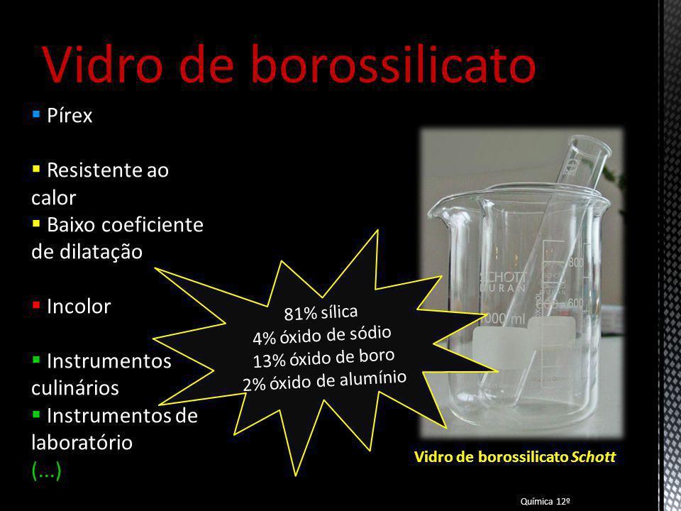 Vidro sódico-cálcico Crown Glass Vidro Comum Plano Transparência Verde Bronze Incolor Janelas Garrafas Frascos (...) Química 12º Vidro comum 60-75% sílica 12-18% óxido de sódio 5-12% óxido de cálcio