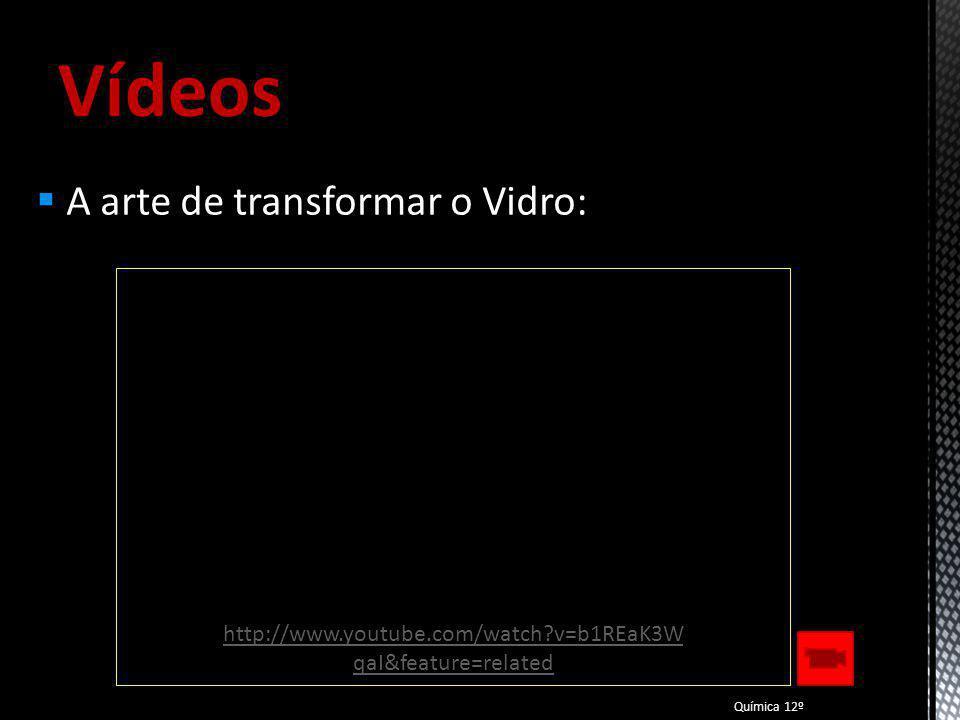 Vídeos A Química de fazer o Vidro: Química 12º http://www.youtube.com/watch?v=- gnzNkpqwxA&feature=related