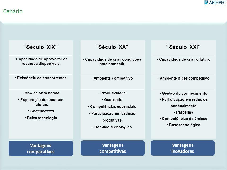 Século XXl Capacidade de criar o futuro Ambiente hiper-competitivo Gestão do conhecimento Participação em redes de conhecimento Parcerias Competências