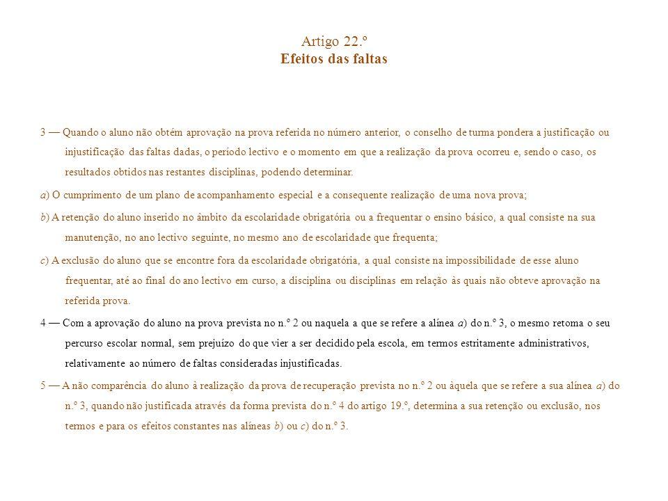 Artigo 22.º Efeitos das faltas 3 Quando o aluno não obtém aprovação na prova referida no número anterior, o conselho de turma pondera a justificação o