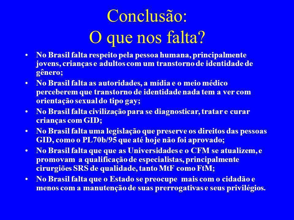 Conclusão: O que nos falta? No Brasil falta respeito pela pessoa humana, principalmente jovens, crianças e adultos com um transtorno de identidade de