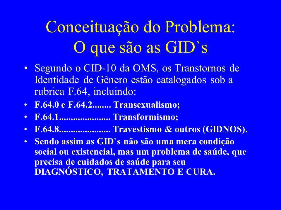 Conceituação do Problema: O que são as GID`s Segundo o CID-10 da OMS, os Transtornos de Identidade de Gênero estão catalogados sob a rubrica F.64, inc