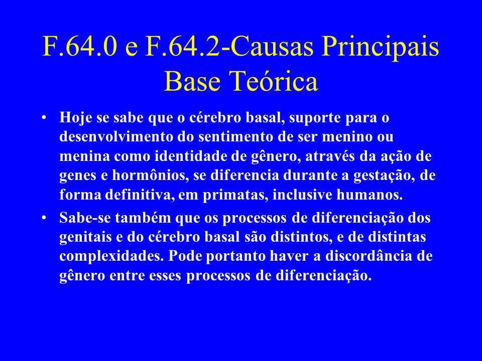 F.64.0 e F.64.2-Causas Principais Base Teórica Hoje se sabe que o cérebro basal, suporte para o desenvolvimento do sentimento de ser menino ou menina