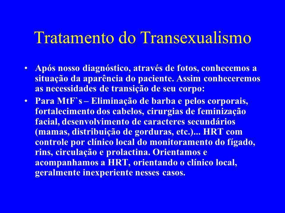 Tratamento do Transexualismo Após nosso diagnóstico, através de fotos, conhecemos a situação da aparência do paciente. Assim conheceremos as necessida