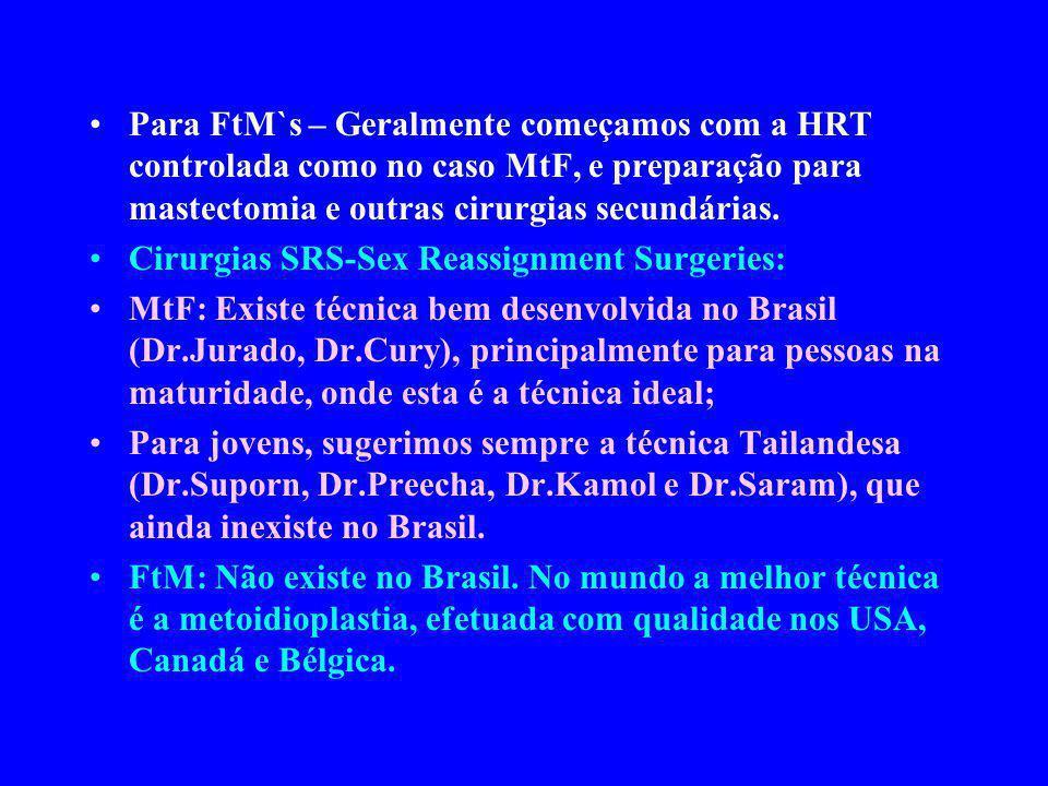 Para FtM`s – Geralmente começamos com a HRT controlada como no caso MtF, e preparação para mastectomia e outras cirurgias secundárias. Cirurgias SRS-S