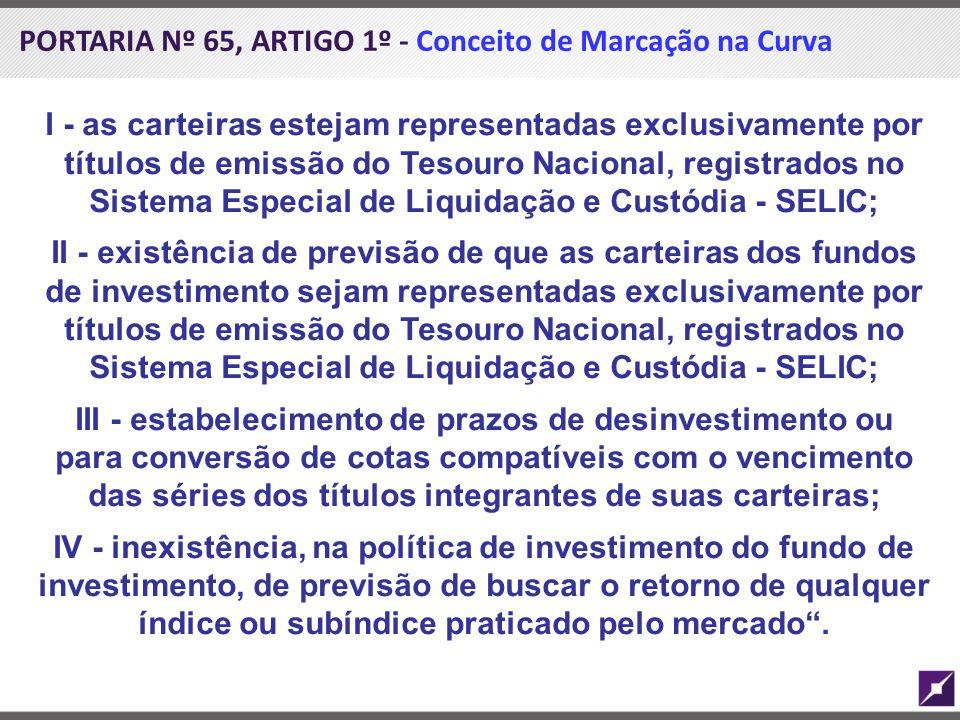 PORTARIA Nº 65, ARTIGO 1º - Conceito de Marcação na Curva I - as carteiras estejam representadas exclusivamente por títulos de emissão do Tesouro Naci