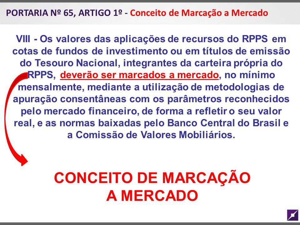 PORTARIA Nº 65, ARTIGO 1º - Conceito de Marcação a Mercado VIII - Os valores das aplicações de recursos do RPPS em cotas de fundos de investimento ou