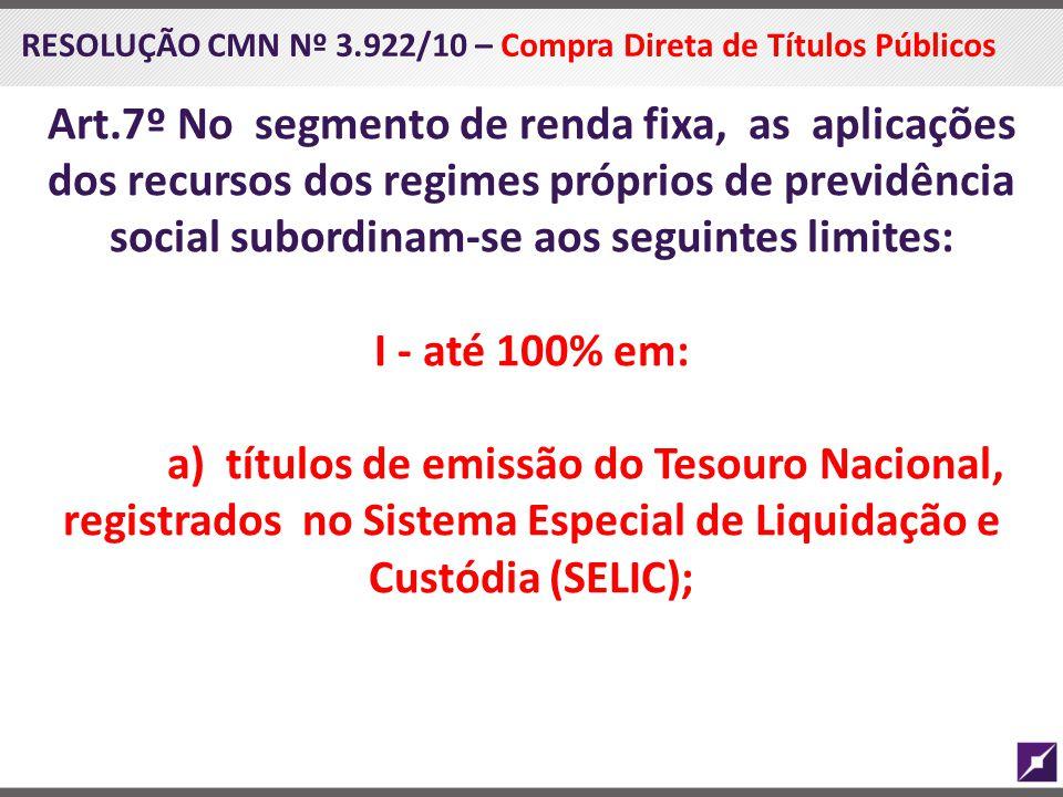 RESOLUÇÃO CMN Nº 3.922/10 – Compra Direta de Títulos Públicos Art.7º No segmento de renda fixa, as aplicações dos recursos dos regimes próprios de pre