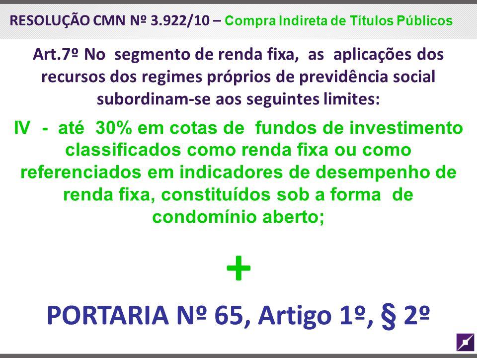 RESOLUÇÃO CMN Nº 3.922/10 – Compra Indireta de Títulos Públicos Art.7º No segmento de renda fixa, as aplicações dos recursos dos regimes próprios de p