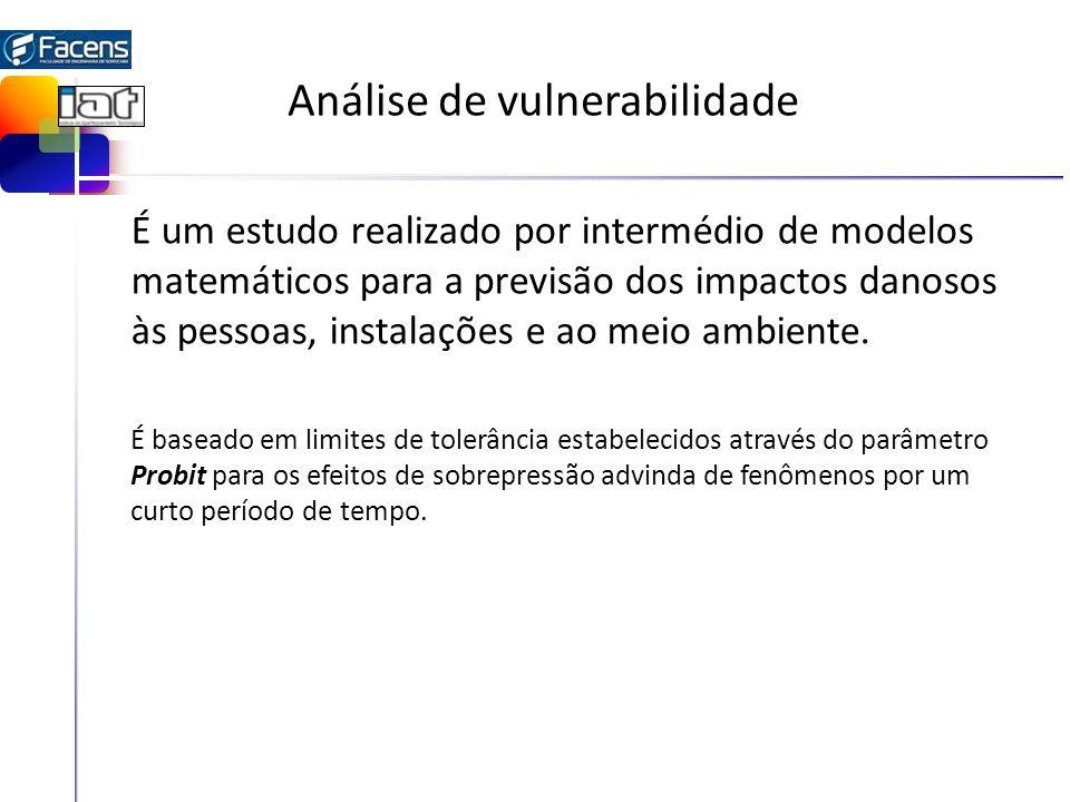 Análise de vulnerabilidade É um estudo realizado por intermédio de modelos matemáticos para a previsão dos impactos danosos às pessoas, instalações e ao meio ambiente.