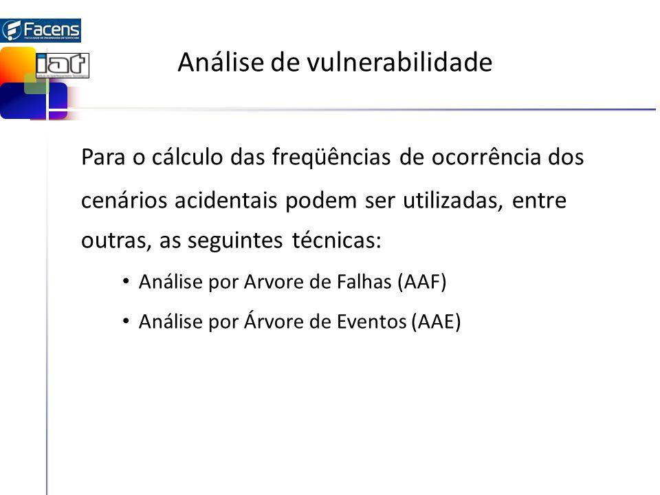 Análise de vulnerabilidade Para o cálculo das freqüências de ocorrência dos cenários acidentais podem ser utilizadas, entre outras, as seguintes técni