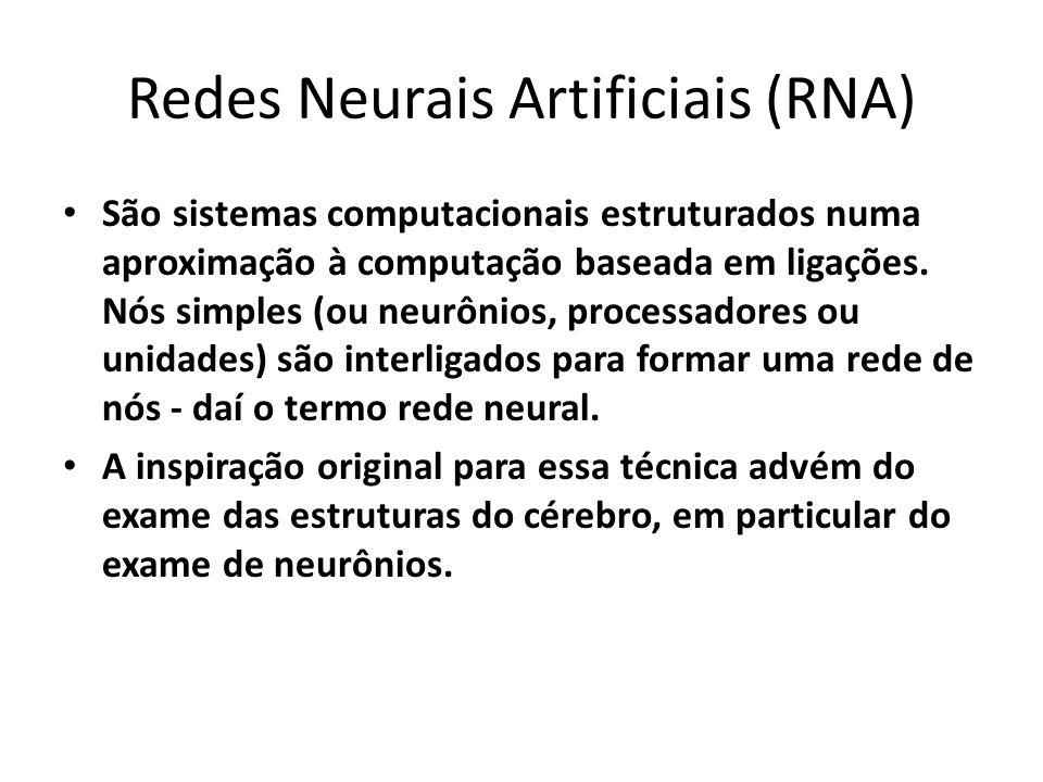 Redes Neurais Artificiais (RNA) São sistemas computacionais estruturados numa aproximação à computação baseada em ligações. Nós simples (ou neurônios,