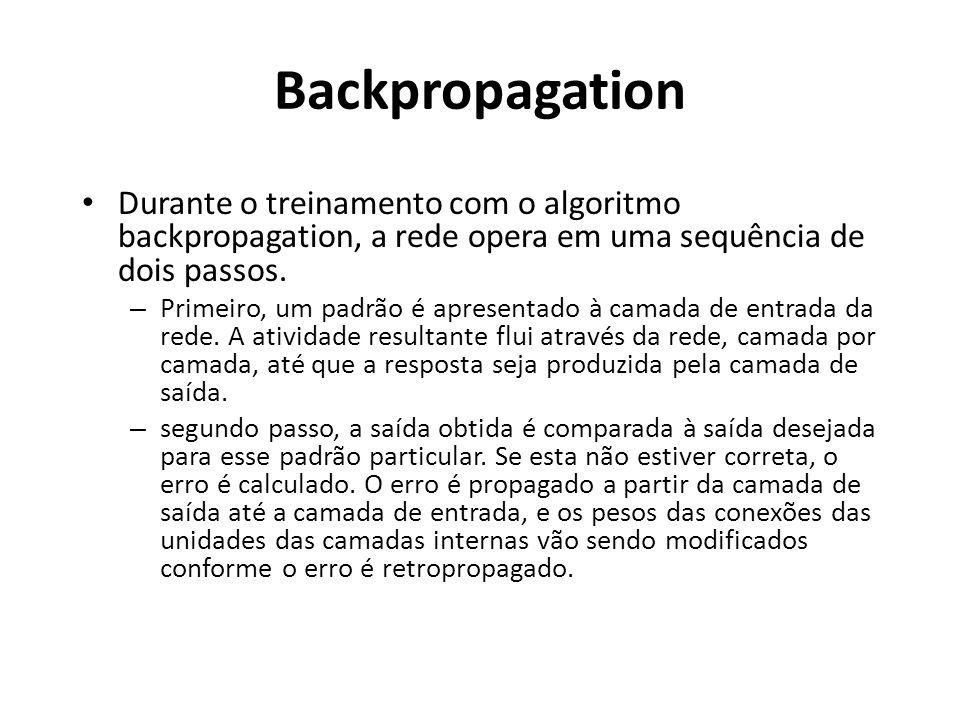 Backpropagation Durante o treinamento com o algoritmo backpropagation, a rede opera em uma sequência de dois passos. – Primeiro, um padrão é apresenta