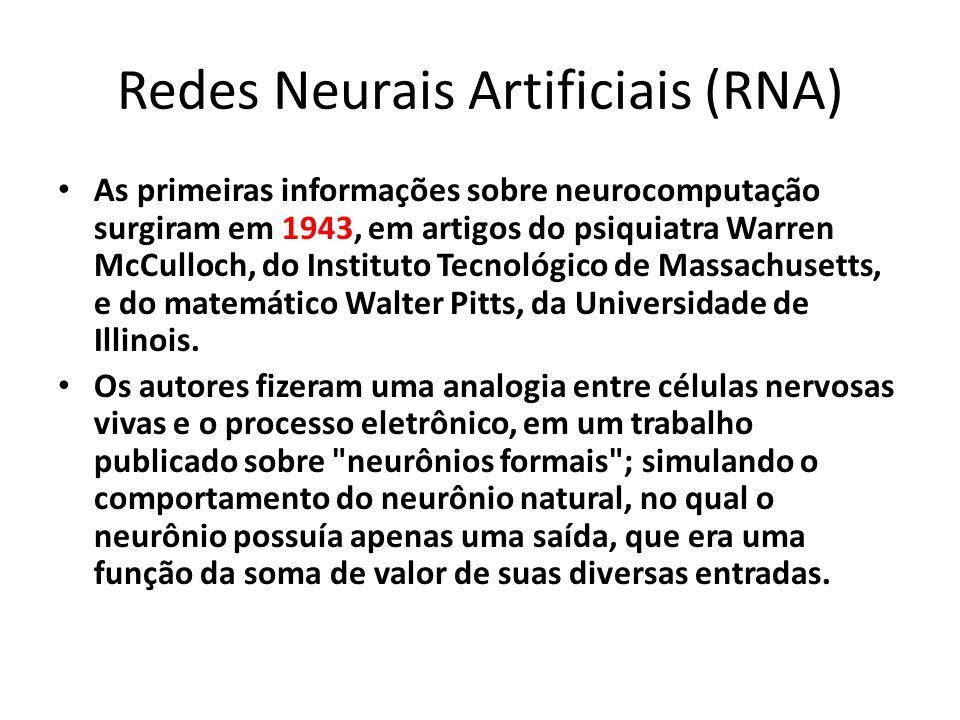 Redes Neurais Artificiais (RNA) As primeiras informações sobre neurocomputação surgiram em 1943, em artigos do psiquiatra Warren McCulloch, do Institu