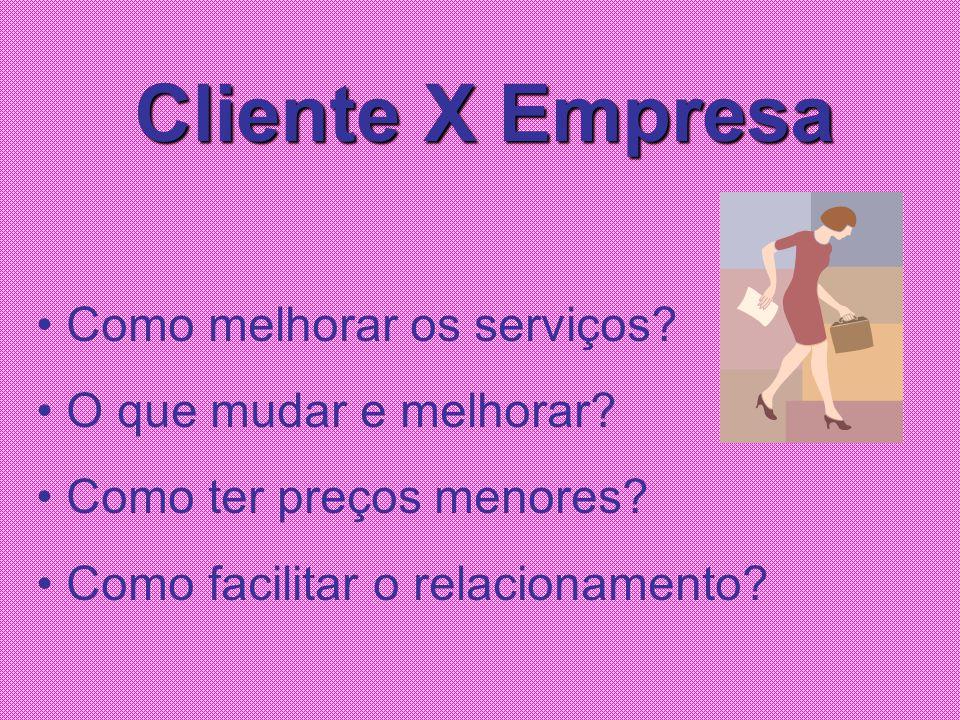Cliente X Empresa Como melhorar os serviços? O que mudar e melhorar? Como ter preços menores? Como facilitar o relacionamento?