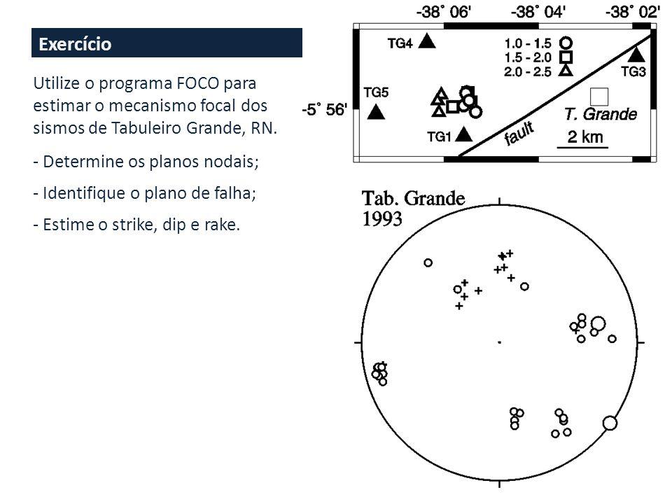 Exercício Utilize o programa FOCO para estimar o mecanismo focal dos sismos de Tabuleiro Grande, RN.