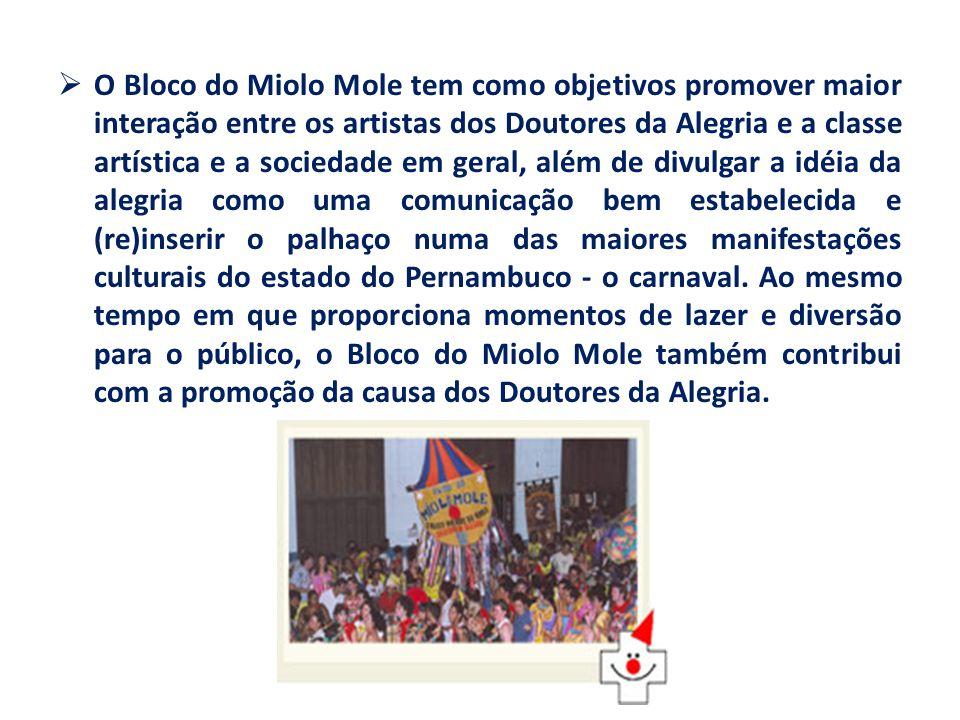 O Bloco do Miolo Mole tem como objetivos promover maior interação entre os artistas dos Doutores da Alegria e a classe artística e a sociedade em gera