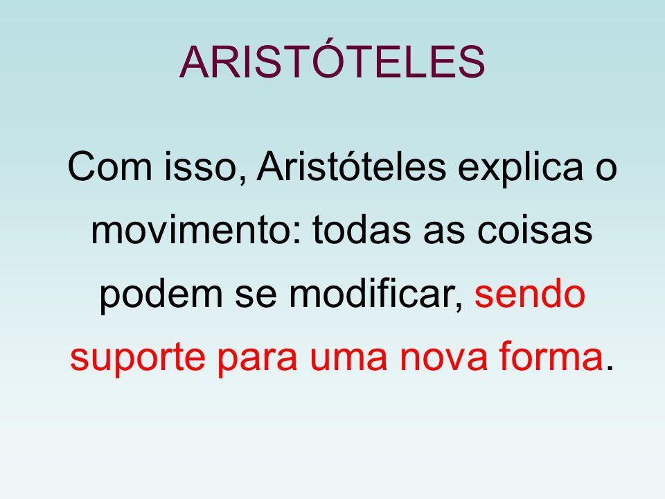 ARISTÓTELES Com isso, Aristóteles explica o movimento: todas as coisas podem se modificar, sendo suporte para uma nova forma.