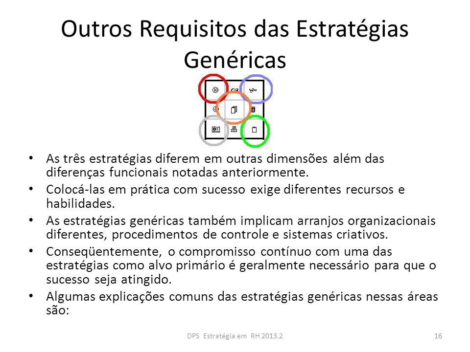 Outros Requisitos das Estratégias Genéricas As três estratégias diferem em outras dimensões além das diferenças funcionais notadas anteriormente. Colo