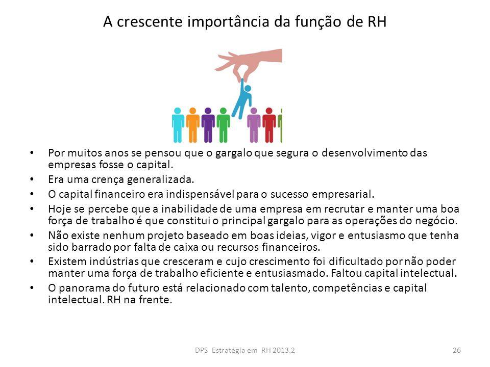 A crescente importância da função de RH Por muitos anos se pensou que o gargalo que segura o desenvolvimento das empresas fosse o capital. Era uma cre