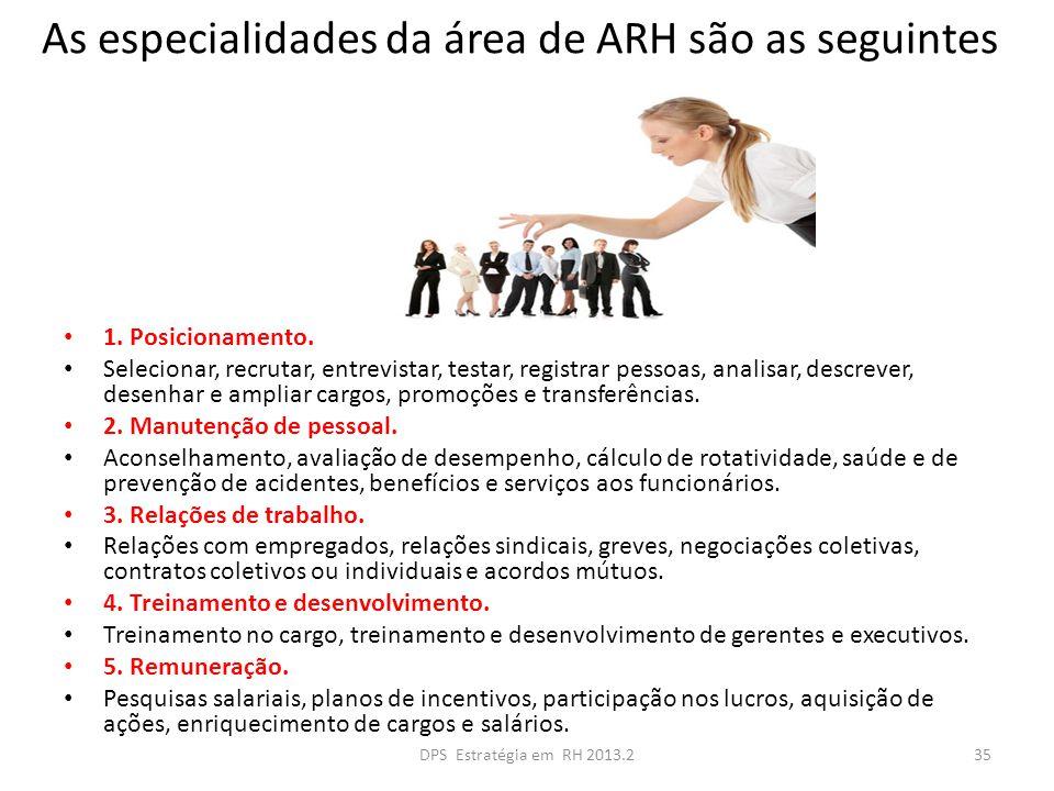As especialidades da área de ARH são as seguintes 1. Posicionamento. Selecionar, recrutar, entrevistar, testar, registrar pessoas, analisar, descrever