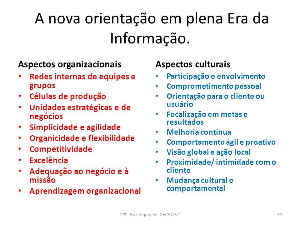 A nova orientação em plena Era da Informação. Aspectos organizacionais Redes internas de equipes e grupos Células de produção Unidades estratégicas e