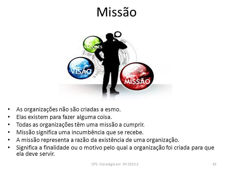 Missão As organizações não são criadas a esmo. Elas existem para fazer alguma coisa. Todas as organizações têm uma missão a cumprir. Missão significa