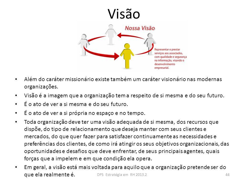 Visão Além do caráter missionário existe também um caráter visionário nas modernas organizações. Visão é a imagem que a organização tem a respeito de