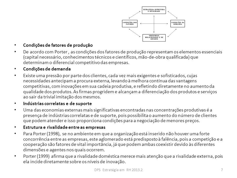 Condições de fatores de produção De acordo com Porter, as condições dos fatores de produção representam os elementos essenciais (capital necessário, c