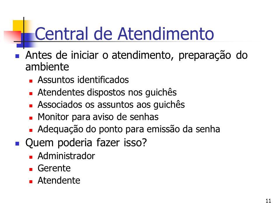 11 Central de Atendimento Antes de iniciar o atendimento, preparação do ambiente Assuntos identificados Atendentes dispostos nos guichês Associados os