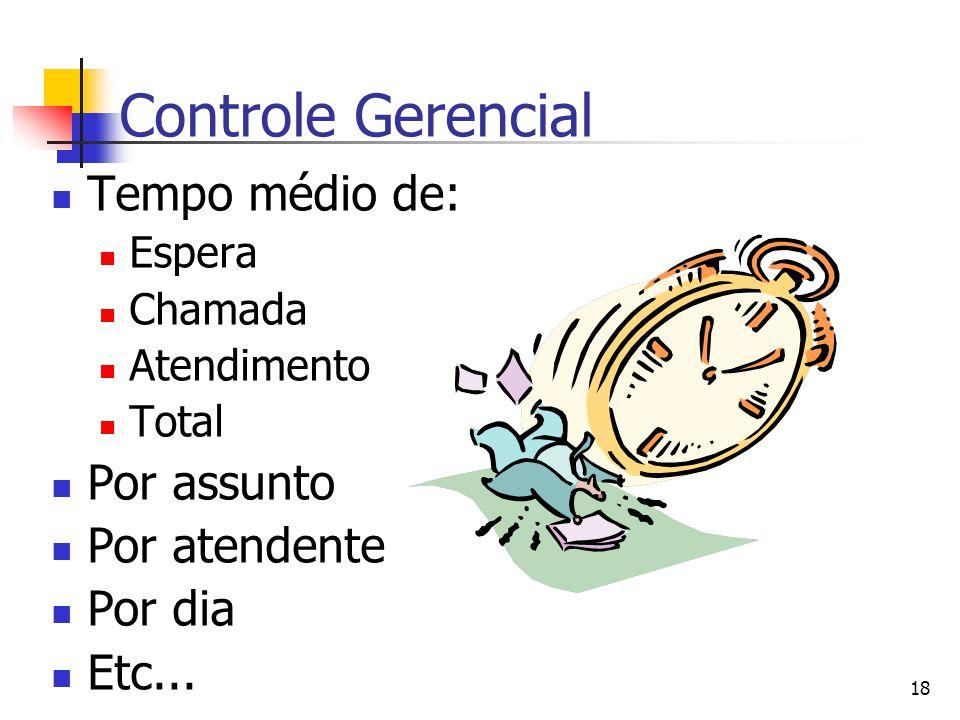 18 Controle Gerencial Tempo médio de: Espera Chamada Atendimento Total Por assunto Por atendente Por dia Etc...