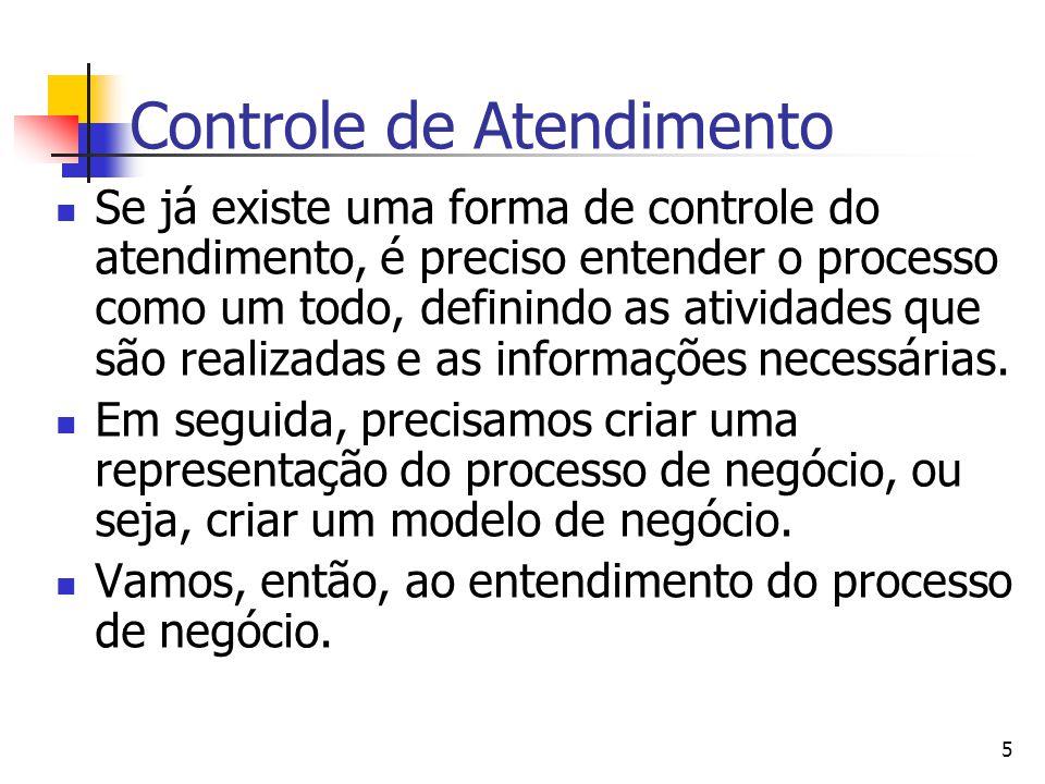 5 Controle de Atendimento Se já existe uma forma de controle do atendimento, é preciso entender o processo como um todo, definindo as atividades que s