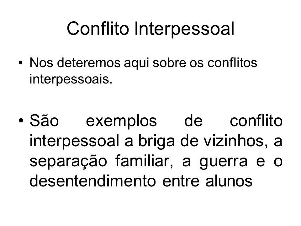 Conflito Interpessoal Nos deteremos aqui sobre os conflitos interpessoais. São exemplos de conflito interpessoal a briga de vizinhos, a separação fami