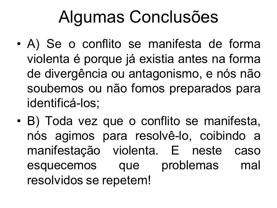 Algumas Conclusões A) Se o conflito se manifesta de forma violenta é porque já existia antes na forma de divergência ou antagonismo, e nós não soubemo