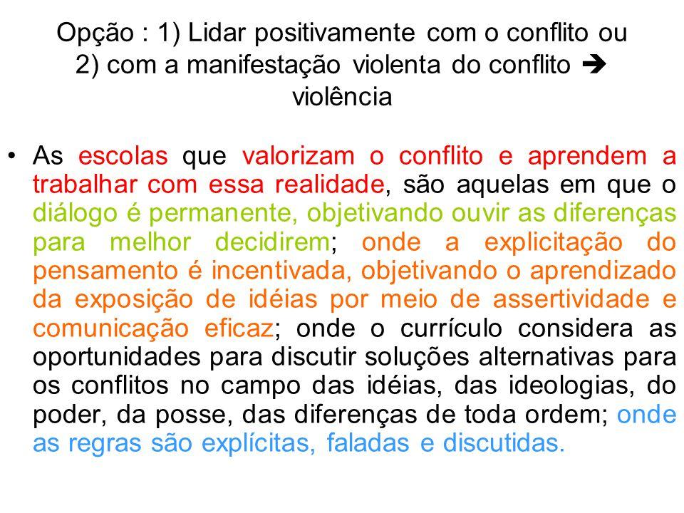 Opção : 1) Lidar positivamente com o conflito ou 2) com a manifestação violenta do conflito violência As escolas que valorizam o conflito e aprendem a