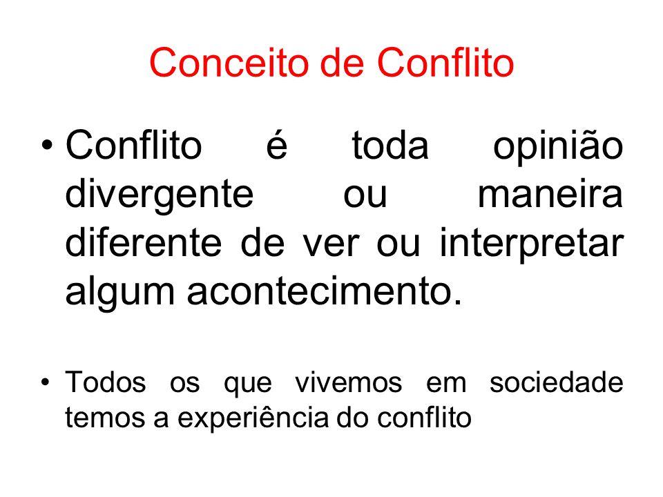 Conceito de Conflito Conflito é toda opinião divergente ou maneira diferente de ver ou interpretar algum acontecimento. Todos os que vivemos em socied