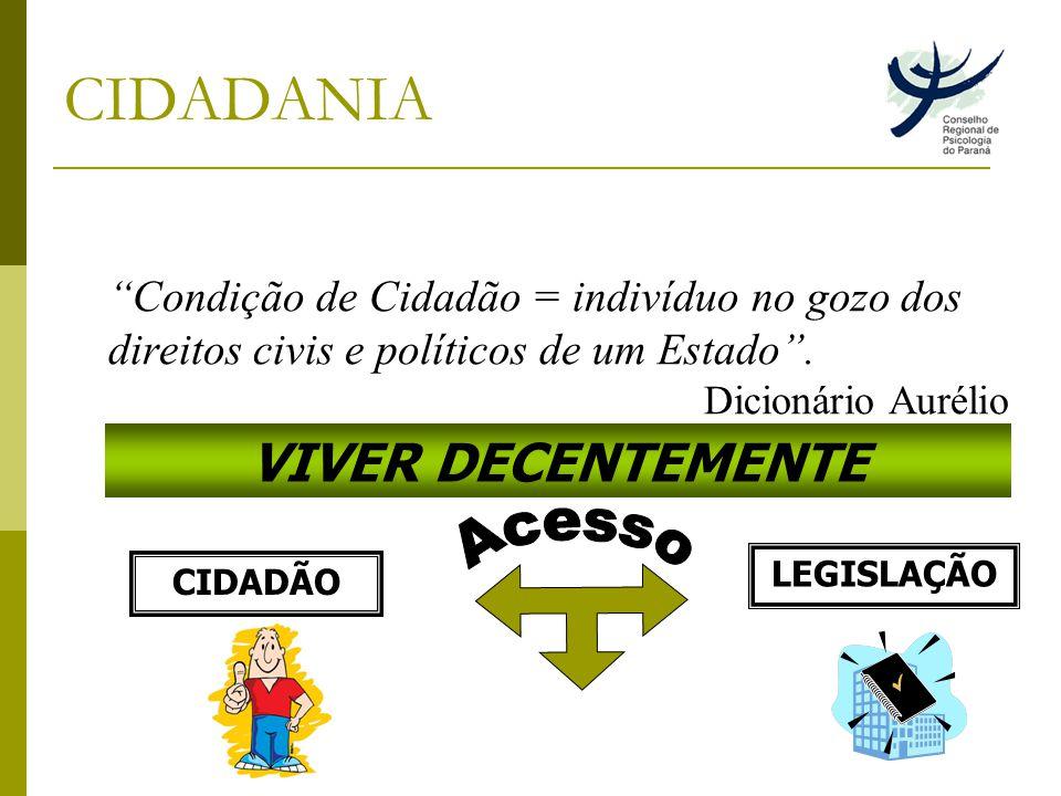 CIDADANIA Condição de Cidadão = indivíduo no gozo dos direitos civis e políticos de um Estado.