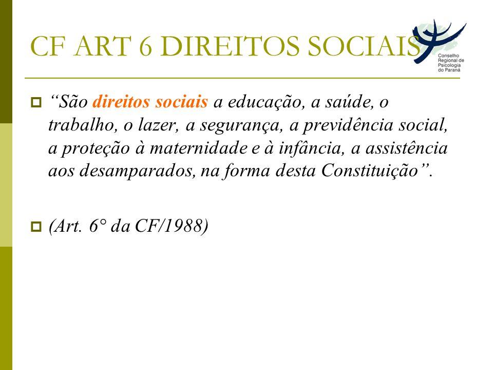 CF ART 6 DIREITOS SOCIAIS São direitos sociais a educação, a saúde, o trabalho, o lazer, a segurança, a previdência social, a proteção à maternidade e à infância, a assistência aos desamparados, na forma desta Constituição.
